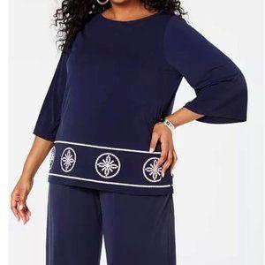 Michael Kors Women's PLUS Navy Blue Top 2X NWT